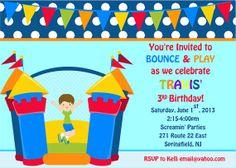 Bouncy House (Boy) Birthday Invitation