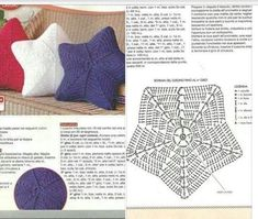 Knitting patterns toys crochet stars 55 New Ideas Crochet Pillow Pattern, Crochet Diagram, Crochet Motif, Crochet Doilies, Crochet Stitches, Crochet Pillow Cases, Crochet Home, Diy Crochet, Crochet Baby
