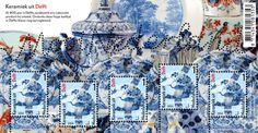 Mooi Nederland - Keramiek uit Delft Op elk van de vijf identieke postzegels staat een detail van een van de aardewerkstukken uit Delft die op het postzegelvel zijn afgebeeld: de reiger aan de rand van het water met de opvliegende vogel in de lucht. Op drie van de vijf postzegels bevindt dat detail zich op exact dezelfde positie als op de uitwaaierende ovale bloemenhouder die erachter schuilgaat.