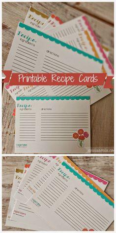Printable Recipe Cards - Sugar Bee Crafts