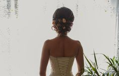 Wedding Hairstyles ~ Updo & lace up wedding gown