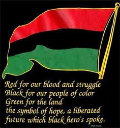 Red for our blood and struggle, Black for our people of color, Green for the land the symbol of hope, a liberated future which black heroes spoke