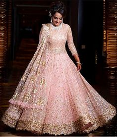Extravagant creation by Tarun Tahilliani. Indian Wedding Gowns, Pakistani Wedding Outfits, Indian Gowns, Indian Bridal Wear, Indian Attire, Bridal Outfits, Pakistani Dresses, Bridal Dresses, Girls Dresses