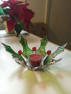 Stained glass Holly candle holder