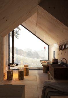 Carpineto Mountain Refuge near Rome, Italy. Concept design by Architect Massimo Gnocchi Sustainable Architecture, Architecture Design, Cabin Design, House Design, Tiny Spaces, Modular Homes, Cabana, Interior And Exterior, Tiny House