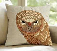 Free Linen cotton Embroidered Owl home pillow cushion cover car pillowcase