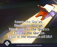 Learn the Qur'an. Recite the Qur'an. Teach others the Qur'an. Live by the Qur'an. That is the essence of life! #Follow #Quran #Islam #Sunnah #Love #Allah