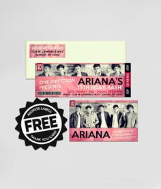 ONE DIRECTION - 1D - TICKET Invitation with TY card & labels - DIY Printable - birthday invitation