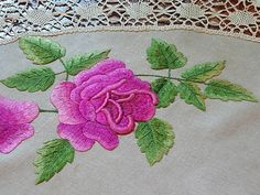 Em's Heart Antique Linens -Antique Society Silk Embroidered Tablecloth