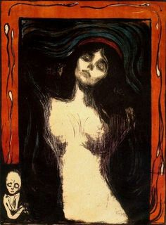 6. Edvard Much -Madonna (1894 -1895) Somebody would also go deep with the sacral theme and consider a madonna (implicitly, the Holy Mary) a subject of love and death. Edvard Much would also do his expressionist interpretation and produce an astonishing painting that is a symbol of the sacred and profane theme.