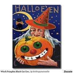 Witch Pumpkin Black Cat Crescent Moon Postcard