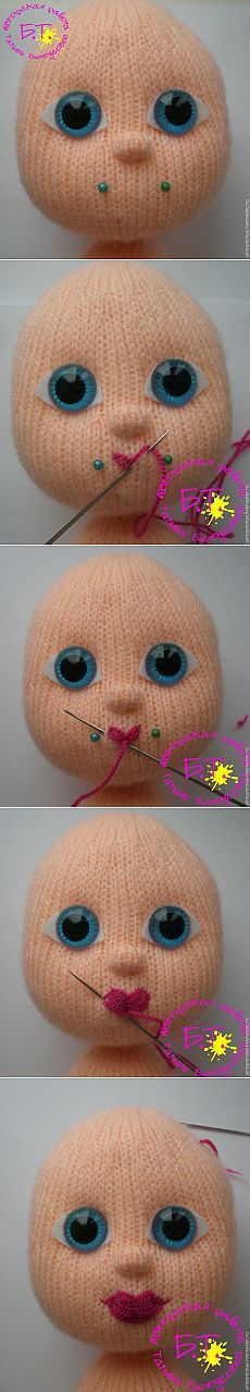 How to sew a bow lips knitted doll - itself the magician
