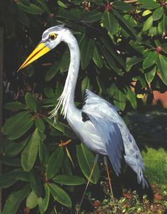 Great Blue Heron - handmade, garden art sculpture created from a recycled pink plastic flamingo.. by CedarMoon