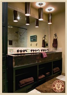 love the trough look for a multi-person sink. Great for a shared bathroom for the kids ?