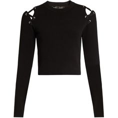 Proenza Schouler Cut-out shoulder crew-neck sweater (€285) ❤ liked on Polyvore featuring tops, sweaters, shirts, crop tops, long sleeves, black, crew neck sweaters, long sleeve sweater, lace up sweater and cold shoulder sweater