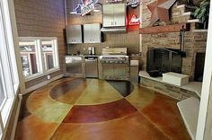 How to stain concrete, stained concrete flooring ideas and design. Photos and info on application of acid etched staining, stain techniques, sealing and maintenance of stained concrete floors. Acid Stained Concrete, Painted Concrete Floors, Painting Concrete, Cement Floors, Stain Concrete, Floor Painting, Flooring Tiles, Concrete Kitchen, Kitchen Floor