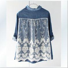 $39.99   Lace stitching Seven sleeves Demin jacket blouse            free size shoulder breadth:39cm chest measurement98cm  forepart length 62cm afterpart length 70cm  SLEEVE LENGTH :44cm nonelastic (manual measurement:2-3cmDeviation)