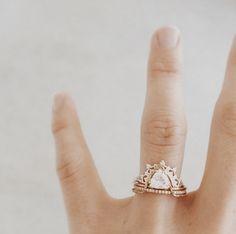 Natalie Marie Jewellery / Offset Trillion Crown Ring / 1 carat trilling cut diamond, picture frame set, double bi texture band