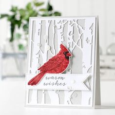 card critter bird birds cardinal , winter christmas, tree trees forest backgrond cover up die, stamp Hero Arts has perfected the layered Homemade Christmas Cards, Christmas Cards To Make, Xmas Cards, Homemade Cards, Holiday Cards, Cricut Christmas Cards, Stamped Christmas Cards, Beautiful Christmas Cards, Christmas Bird