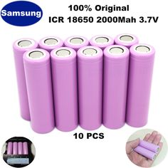 10Pcs PKCELL 18650 Battery 3.7V 2000mAh Rechargeable Li-ion Batteries Bateria Lithium ion Batteries for Samsung Flashlight