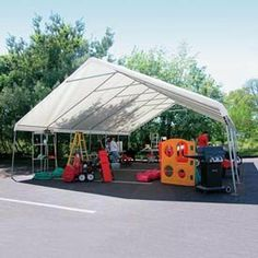 "Weathershield Giant Commercial Canopy 24'W X 40'L Green . $2259.00. WeatherShield Giant Commercial Canopy 24'W x 40'L Green Host outdoor events under a Heavy-Duty Weathershield Commercial Canopy.Quick and easy assembly on any surface. EZ-Lock slip fittings mean less building time, more event time.14 gauge, 1.66"" OD Allied Gatorshield structural steel tubing.12.5 oz., 24 mil premium covers come with a 15 year warranty. Sidewall height: 6'6"".To provide secure and st..."