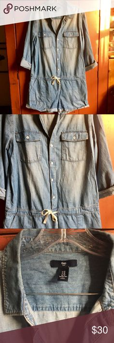 Like New Gap Denim Romper 🔥 This adorable denim romper is from Gap, and features buttons up the front half, a tie waist, and six (!) pockets. It's in like new condition, as it's been worn a total of one time. It needs a new home, so don't miss this one! 🔥 GAP Other