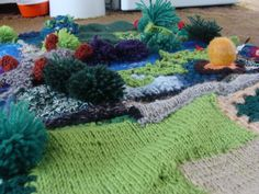 My knitted farm yardthe green grass towards wilderness bush  and satellite detector dome