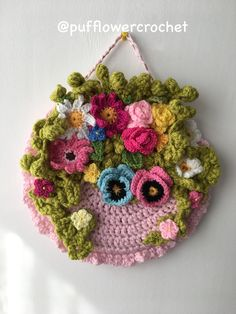 Summer flower wreath - Basket of flowers wall hanging Flower wreath - flower wall hanging - floral wreath - Mother's Day Gift -birthday gift Crochet Flower Patterns, Crochet Motif, Crochet Flowers, Crochet Bouquet, Crochet Wreath, Crochet Wall Art, Crochet Wall Hangings, Crochet Sunflower, Hanging Flower Wall