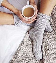 Discover luxurious and high quality cashmere sleepwear from The White Company UK. Shop floor-sweeping cashmere robes, bed socks and snuggly nightwear today. Cashmere Socks, Bed Socks, Cosy Socks, Women's Socks, Urban Fashion Trends, The White Company, Hygge, Pulls, Lounge Wear