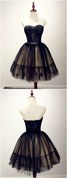 A-line Black Lace Sweetheart Beading Tulle Short Prom Dress,421