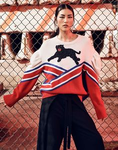 Liu Wen gets whimsical in Gucci sweater with pants by Proenza Schouler and Miu Miu earrings  for The Edit Magazine September 2016 editorial