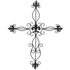 Antique Bronze Fleur-de-Lis Metal Cross featuring polyvore, home, home decor, fleur de lis home decor, cross home decor and metal home decor