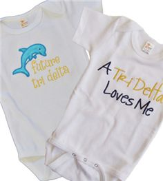 Delta Shop - Tri Delta Onesies for Grace! Delta Sorority, Tri Delta, Baby Fever, Destiny, Baby Shower Gifts, First Love, Onesies, Cricut, Letter