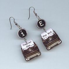 Typewriter Earrings Chapter one The end  by DesignsByAnnette, $18.00