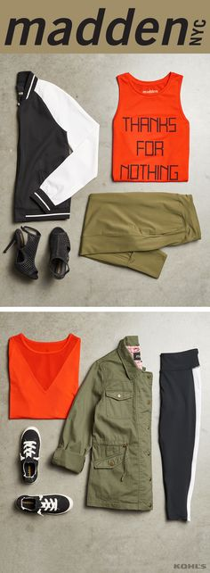 City style with pops of color and sass: madden NYC has arrived. Featured product includes: madden NYC jacket, tee, black and white capris, tennis shoes, heels, olive pants, black and white jacket and red tank top. Shake up your style with Kohl's.