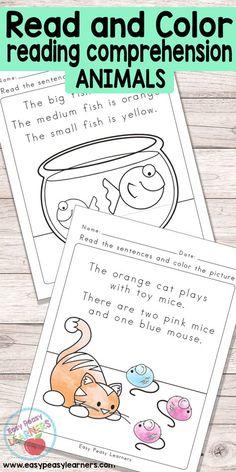 Animals Read and Color Reading Comprehension Worksheets - Grade 1 / Kindergarten Reading Comprehension Worksheets, Reading Strategies, Reading Activities, Reading Skills, Teaching Reading, Guided Reading, Comprehension Strategies, Reading Passages, Reading Fluency