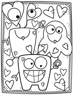 Color Love Monster – Monster Coloring Pages