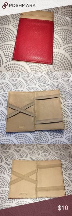J. Crew Slim Magic Wallet 2 Tone J. Crew slim Magic Wallet  • Red and beige.  • Leather and elastic • Convenient slim shape. • Has some residue in some spots (please see photos).  • In good, but not perfect, condition. J. Crew Factory Bags Wallets
