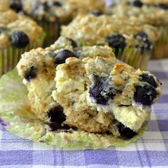 These Blueberry Oatmeal Lemon Cheesecake Muffins are so decadently delicious you might just want to throw on a dollop of whipped cream & call them dessert. The post Blueberry Oatmeal Lemon Che… Mini Desserts, Delicious Desserts, Yummy Food, Yummy Eats, Best Muffin Recipe, Muffin Recipes, Breakfast Recipes, Breakfast Bites, Blueberry Oatmeal Muffins