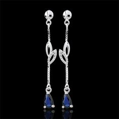 Boucles d'oreilles Evina - or blanc et saphirs : bijoux Edenly
