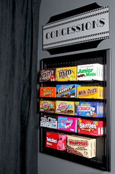 Movie Room DIY Media Room Candy Display - An easy DIY project using pegboard and chalkboard paint to make a fun display for candy in a media room or game room. It could also be used on an easel for an outdoor movie night! Movie Theater Rooms, Cinema Room, Home Theater, Movie Rooms, Theater Room Decor, Theatre Rooms, Game Room Decor, Candy Display, Diy Tumblr