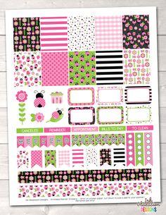 Pink Ladybug Weekly Printable Planner Stickers