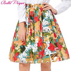 Vintage Midi skirt 2017 Belle Poque Plus size 3xl 2xl floral printed circle 50s 60s swing audrey hepburn Skater Women's Skirts #Affiliate