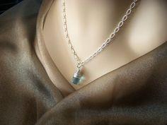 Aquamarine Blue Wire Wrapped Pendant Necklace