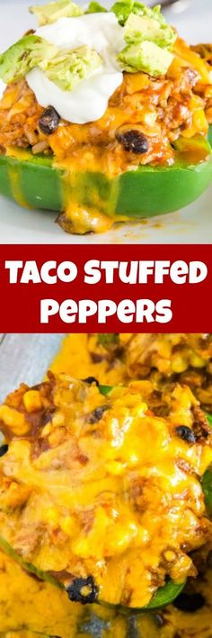Easy Taco Stuffed Peppers - These Mexican Stuffed Peppers Are A Fun Twist On A Classic Taco Meat, Black Beans, Corn, Salsa And More. On the off chance that You Love Taco Night These Are Going To Be A Huge Hit Beef Recipes, Mexican Food Recipes, Dinner Recipes, Cooking Recipes, Healthy Recipes, Ethnic Recipes, Healthy Food, Mexican Dishes, Vegetable Recipes