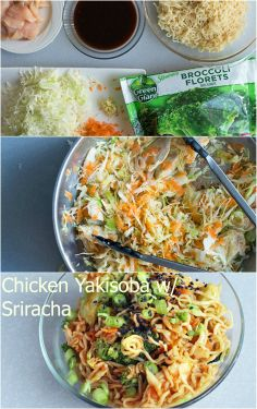 Asian noodles w/ Chicken and Sriracha sauce. Instead of using ramen noodles, use Chinese egg noodles, rice or Soba noodles (gluten free), or regular ol' spaghetti in a pinch!