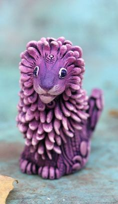 Cute lion Figurine Animal Sculpture by Evgeny Hontor, Totem polymer clay figures for Home decor, polymer clay animal for collecting. Painted and unpainted Animal Sculpture gifts for dragon lovers. Look at the best collection of 800+ miniatures of fantasy creatures, beasts and aliens #lion