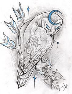 Cresent Moon Owl by JoshDixArt on deviantART