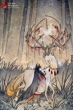 Der Wunsch / Kitsune Fox Mädchen Yokai von TeaFoxIllustrations:
