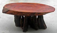 #NATURAL WOOD TABLE Vintage mid century Cypress log natural base  $395.00.